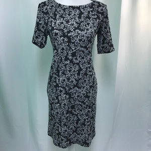 Karen Scott Black White Floral Dress NWT
